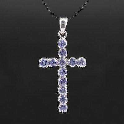 14K Tanzanite Cross Pendant