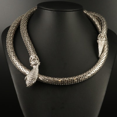 Whiting and Davis Mesh Snake Necklace with Adjustable Length