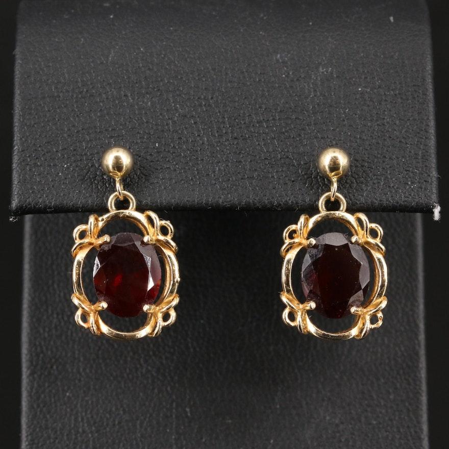 14K Garnet Framed Drop Earrings