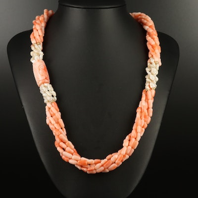 Asian Style 14K Coral and Pearl Torsade Endless Necklace