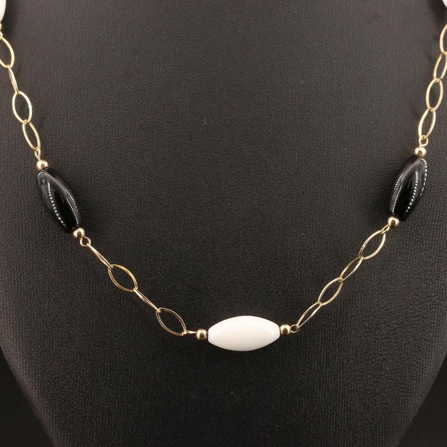 14K Onyx Station Necklace