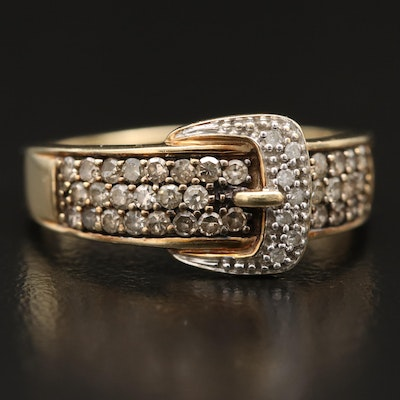 10K Diamond Buckle Motif Ring