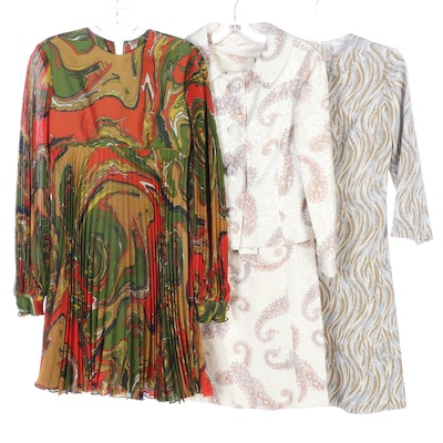 Abstract Print Pleated Dress, Brocade Dress Suit and Wool Blend Knit Dress