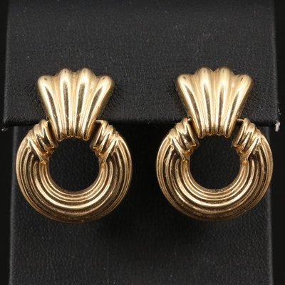 14K Door Knocker Drop Earrings