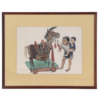 """Clayton Seagears Watercolor Painting """"Skeptic at Mauna Kea"""", 1964"""