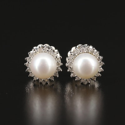 14K Pearl with Diamond Halo Stud Earrings