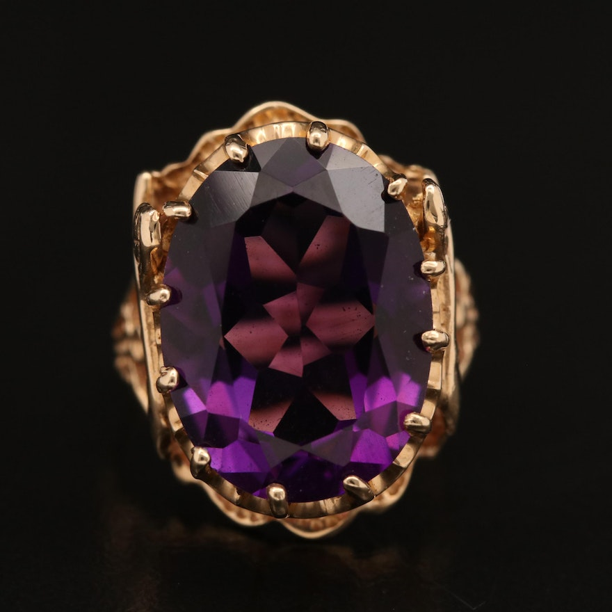 Egyptian Revival Style 14K Amethyst Ring with Sphinx Detail