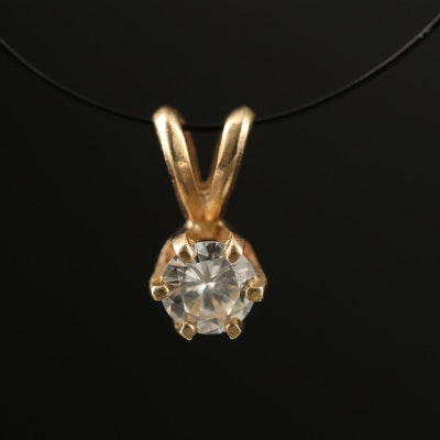 14K 0.17 CT Diamond Solitaire Pendant