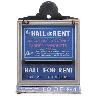 """""""Hall For Rent"""" A-Frame Style Business Advertising Sign, Mid-20th Century"""