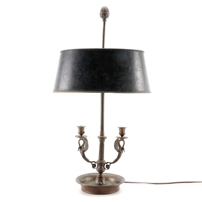 Double Arm Bouillotte Lamp with Tole Shade