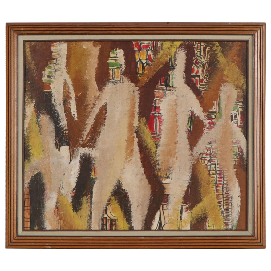 Abstract Acrylic Figurative Painting, Mid 20th Century