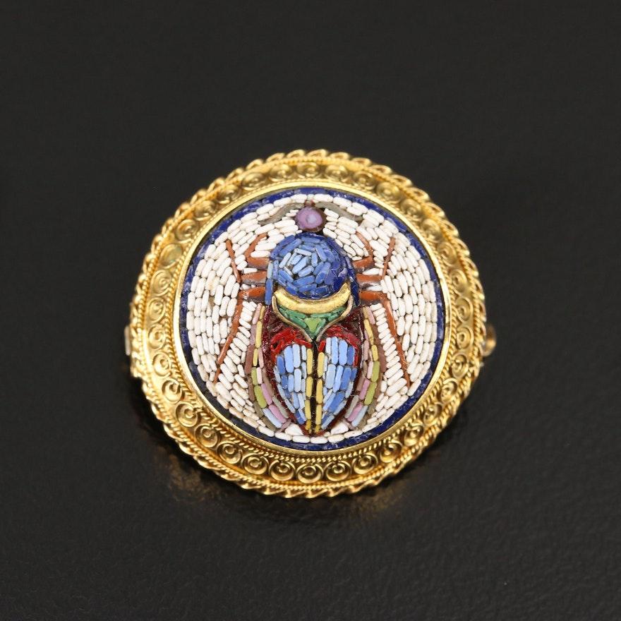 Circa 1870 Victorian Egyptian Revival Glass Micromosaic Scarab Brooch