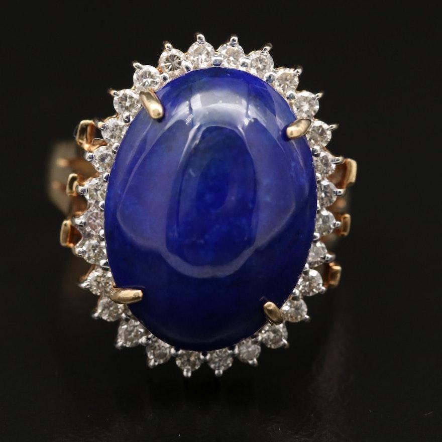 Vintage 14K Lapis Lazuli and Diamond Ring