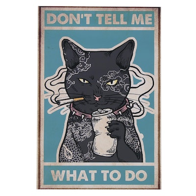 """Giclée Poster of Smoking and Drinking Black Cat """"Don't Tell Me What to Do"""""""
