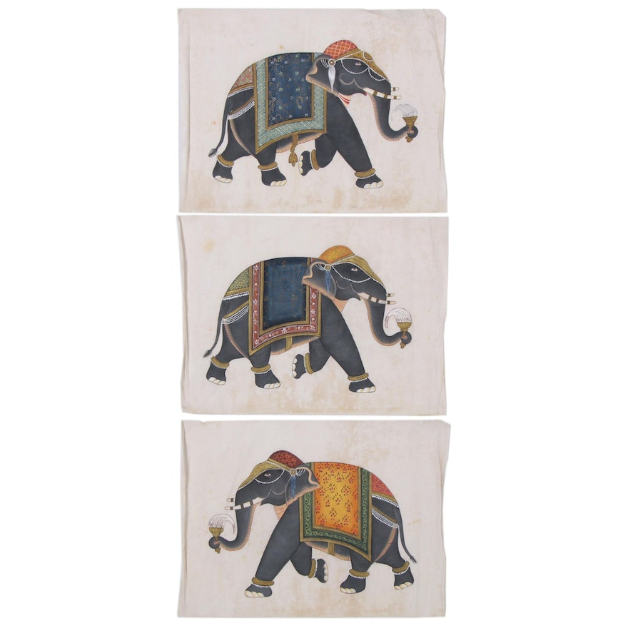 Indian Mughal Style Gouache Paintings of Elephants