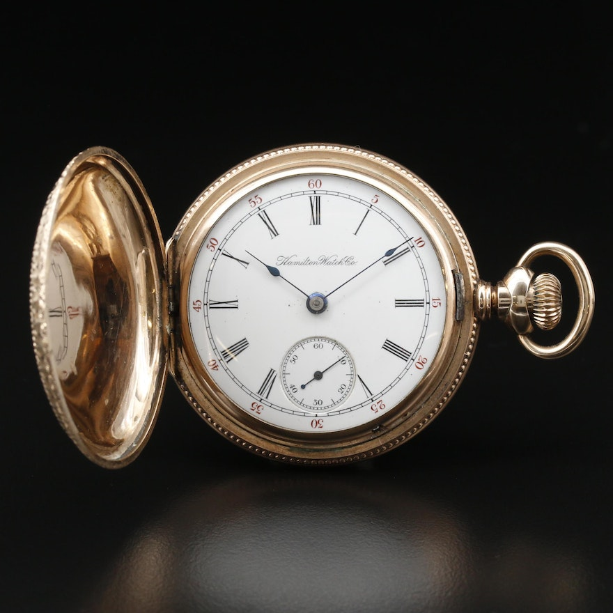 1899 Hamilton Gold Filled Ornate Hunting Case Pocket Watch