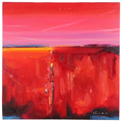 "Victor Kovalenko Abstract Landscape Oil Painting ""Red Sunset"", 2020"
