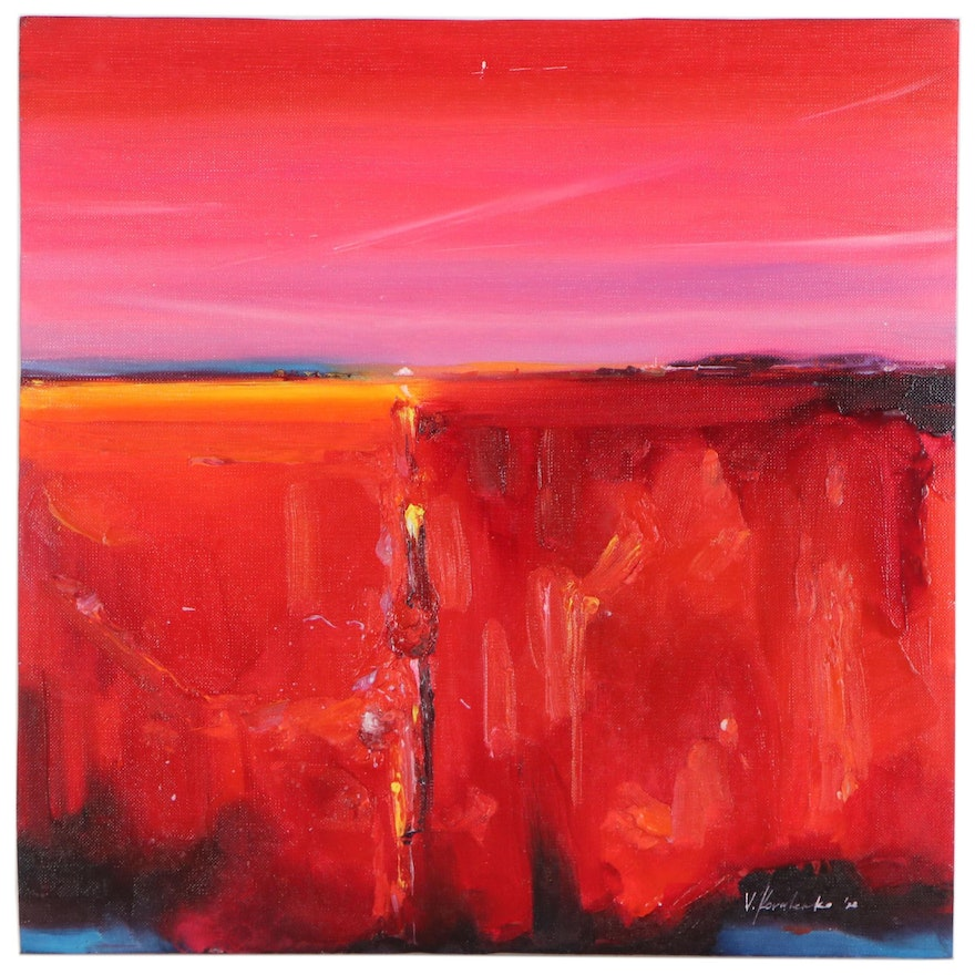 """Victor Kovalenko Abstract Landscape Oil Painting """"Red Sunset"""", 2020"""