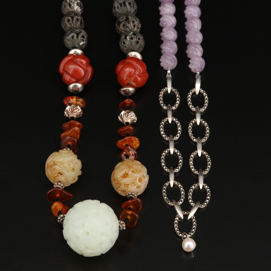 Sterling Silver Carved Bead Necklaces Featuring Amethyst, Bone and Serpentine
