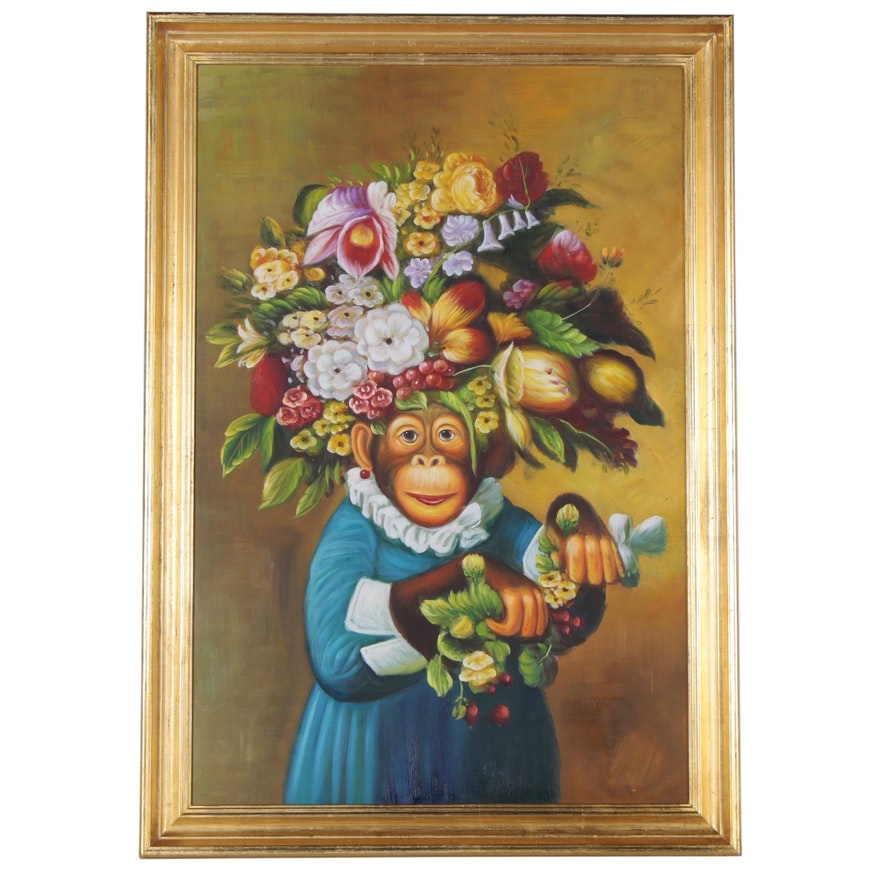 Anthropomorphic Oil Painting of Monkey with Flowers, 21st Century