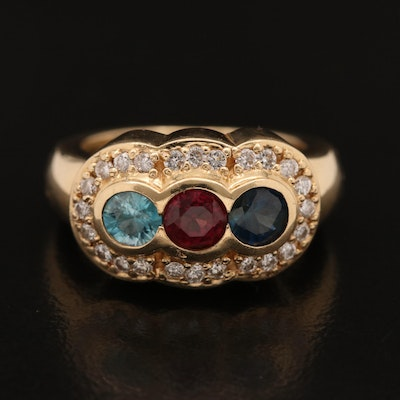 14K Blue Zircon, Garnet, Sapphire and Diamond Ring