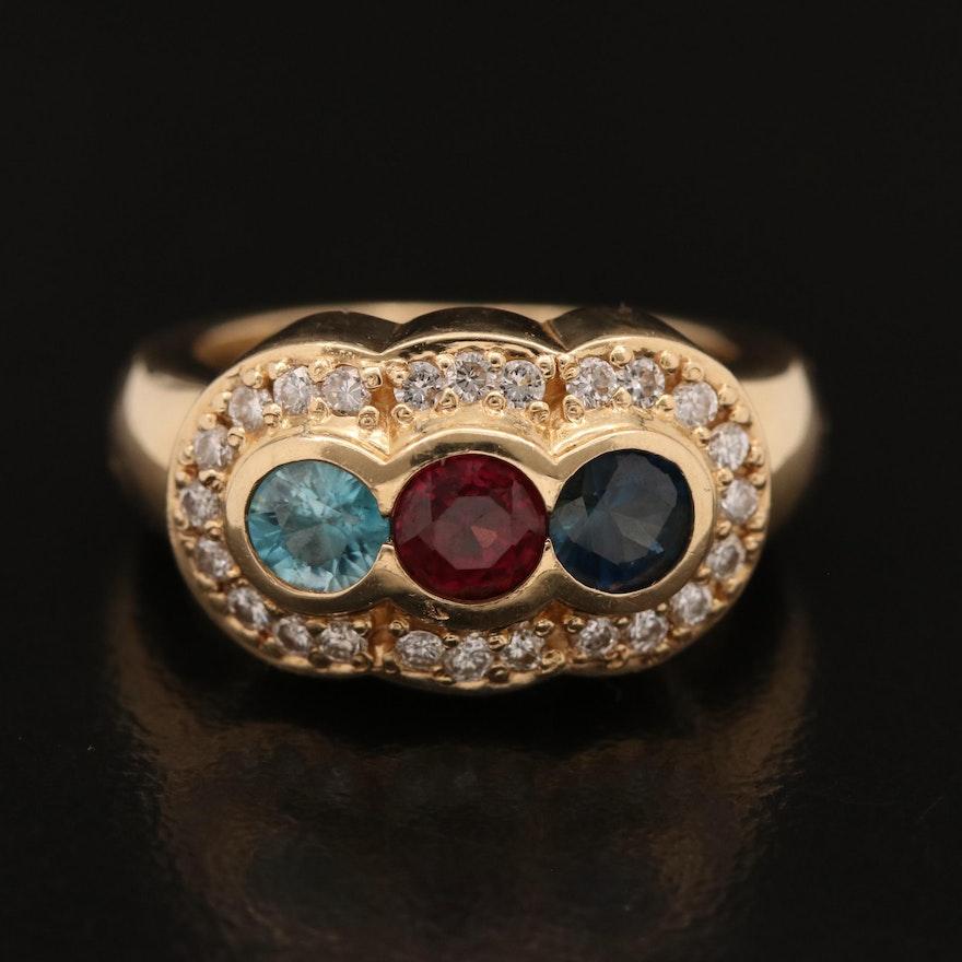 14K Blue Zircon, Garnet, Sapphire and Diamond Ring