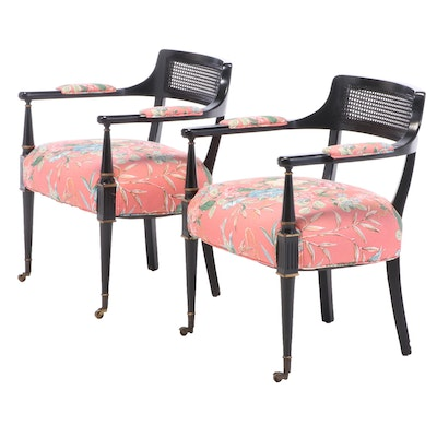 Ebonized Wood Upholstered Arm Chairs, Mid to Late 20th Century
