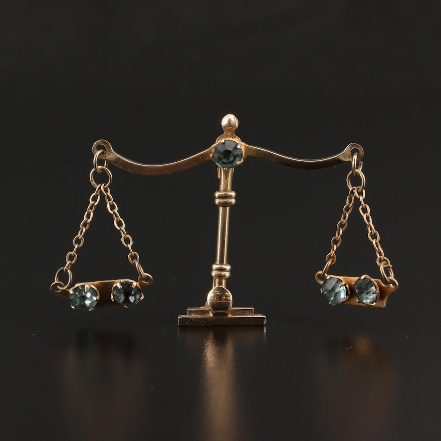 Circa 1940 Gold Filled Articulating Scales of Justice Brooch with Rhinestones
