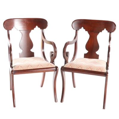 Pair of Empire Style Mahogany-Stained Fiddle Back Upholstered Armchairs