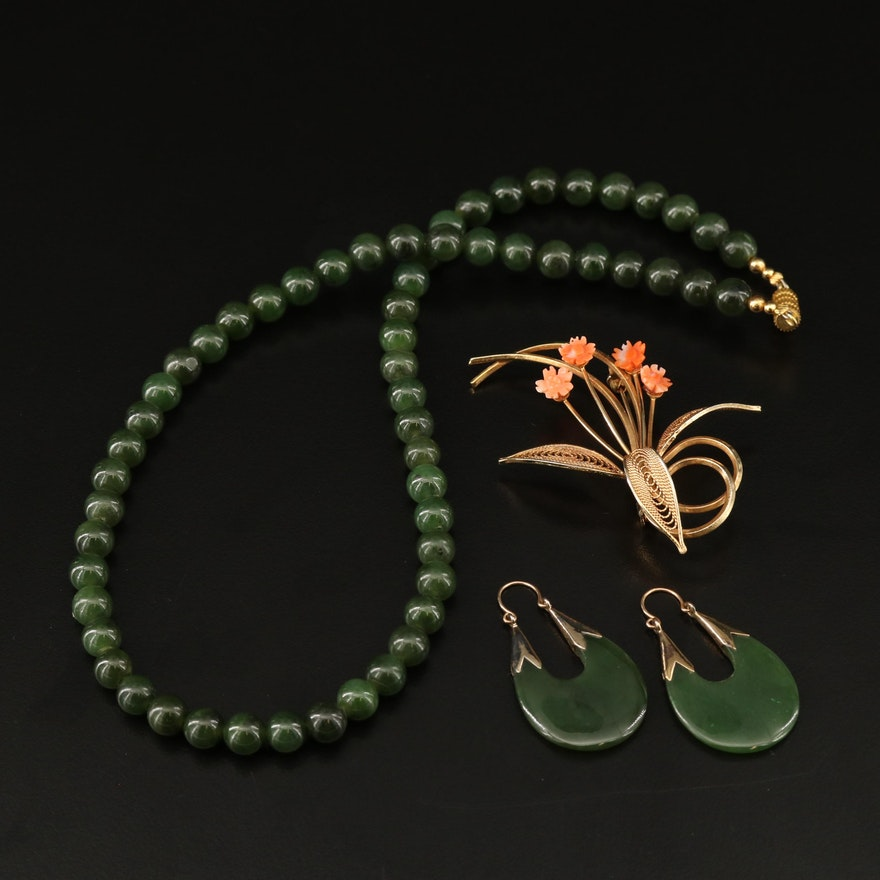 Nephrite Bead Necklace and Drop Earrings with Coral Flower Brooch