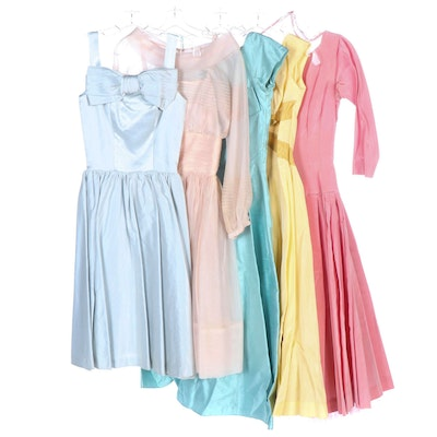 Pastel Taffeta and Satin Tea-Length Fitted Dresses, 1950s - 1960s Vintage