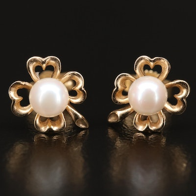 14K Pearl Clover Stud Earrings
