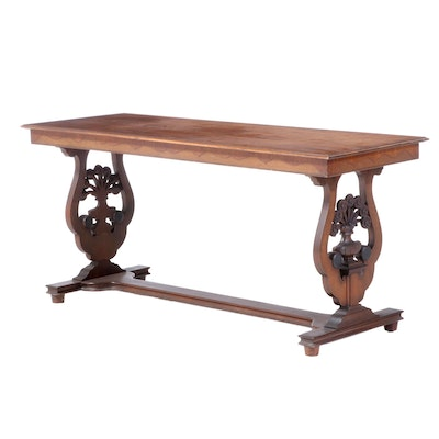 American Walnut and Burl Walnut Console Table, Early to Mid 20th Century
