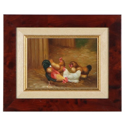J.P. Noel Oil Painting of Chicken, Late 20th Century