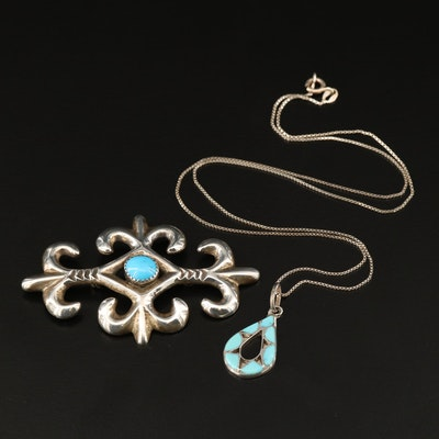 Emma Bowekaty Zuni Sterling Turquoise Pendant Necklace with Southwestern Brooch