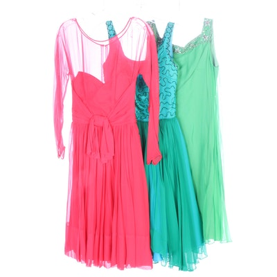 Blue, Green and Red Chiffon Cocktail Dresses, 1960s Vintage