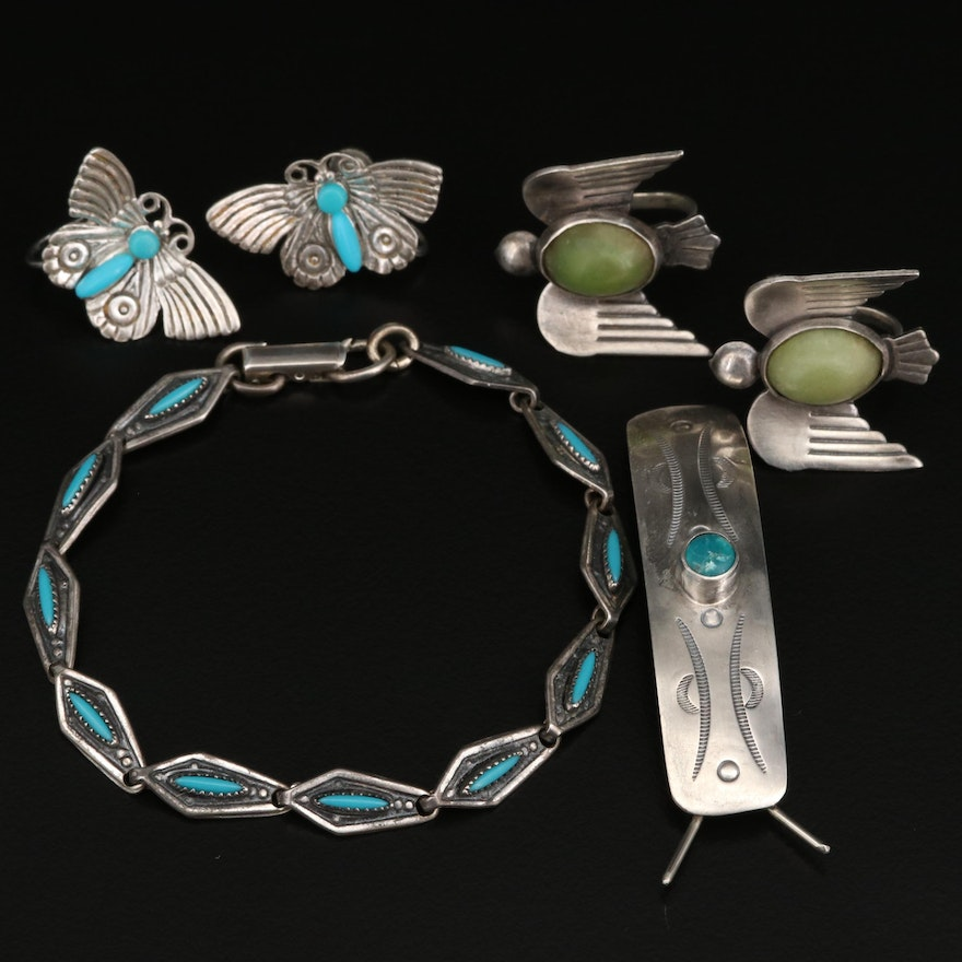 Sterling Silver Jewelry Selection Featuring Turquoise and Variscite Accents