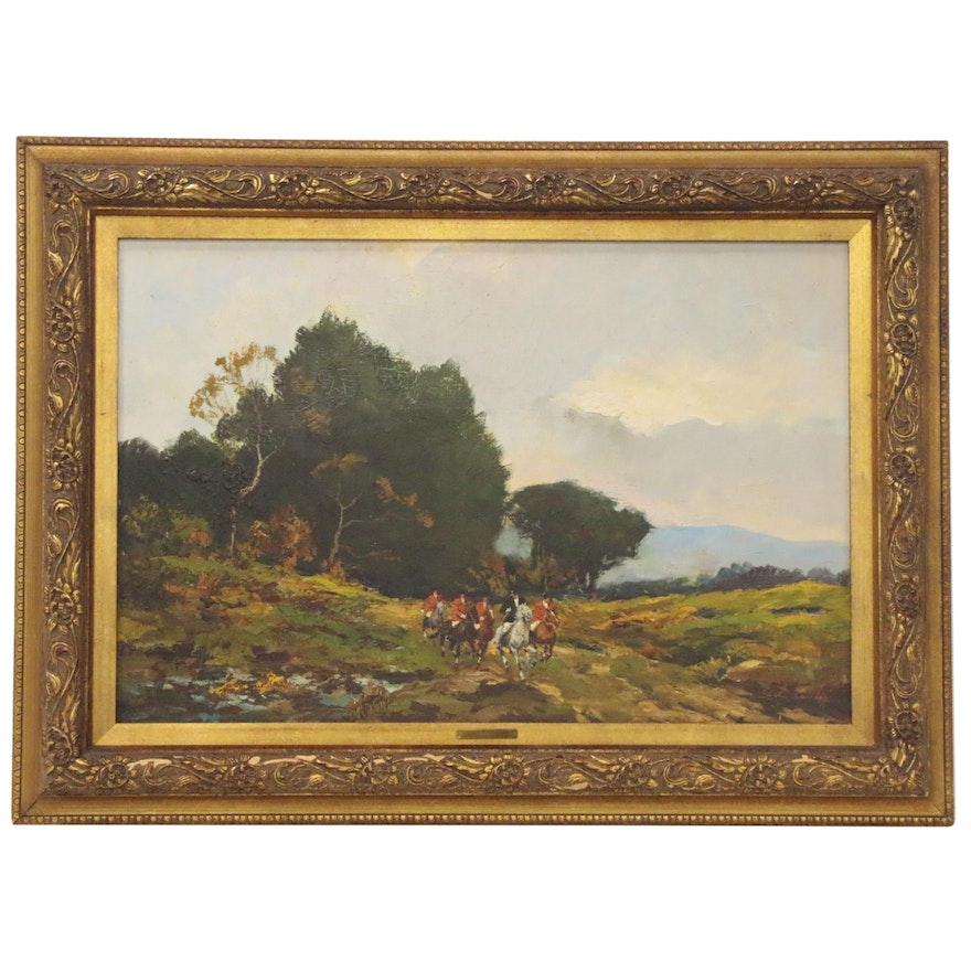 Oil painting of Fox Hunting Scene, Mid 20th Century