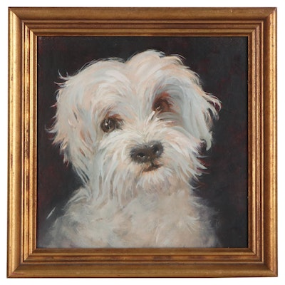 Oil Painting of Maltese Dog, Late 20th Century