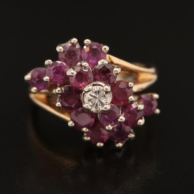 14K Diamond and Ruby Cluster RIng with Split Shoulders