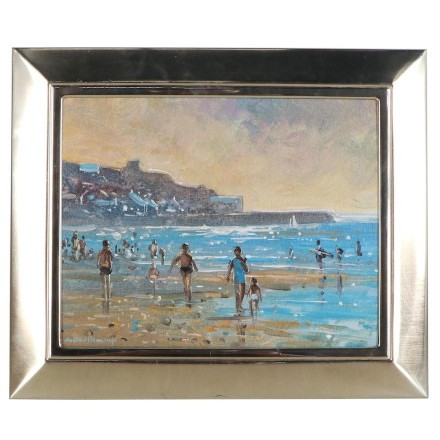 Richard Blowey Oil Painting of Beach Scene, Late 20th Century
