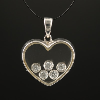 14K Floating Cubic Zirconia Heart Pendant