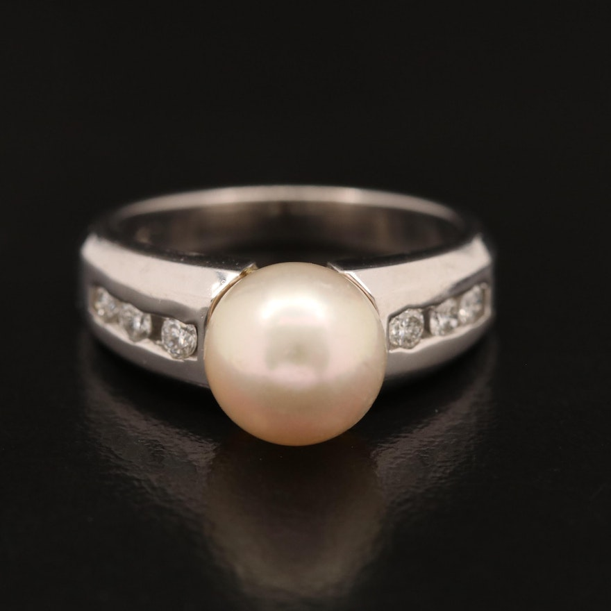 14K Pearl Ring with Channel Set Diamond Shoulders