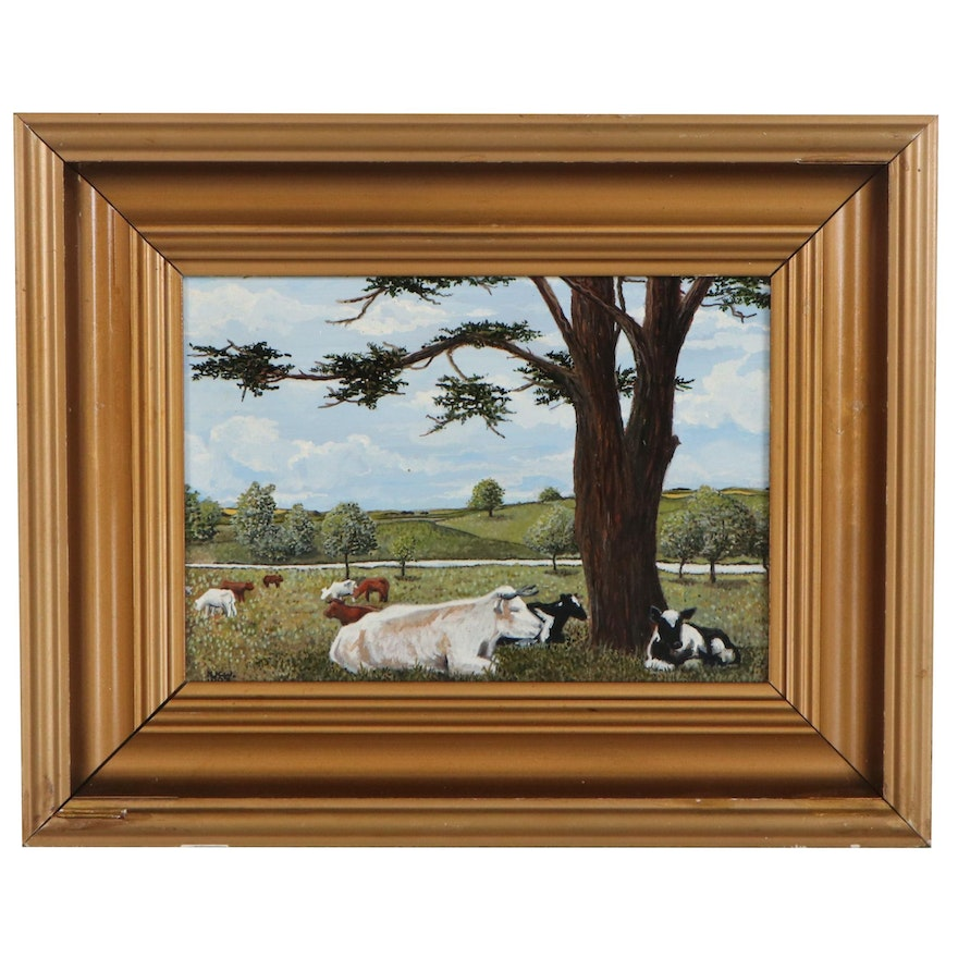 Oil Painting of Pastoral Scene with Cows, 1983