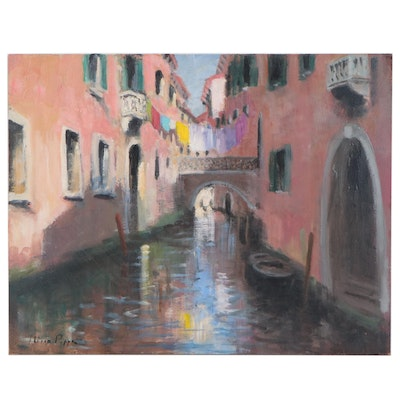 "Nino Pippa Oil Painting ""Venice - Side Canal"", 2012"