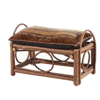 Rustic Bent Wood Bench with Cushion