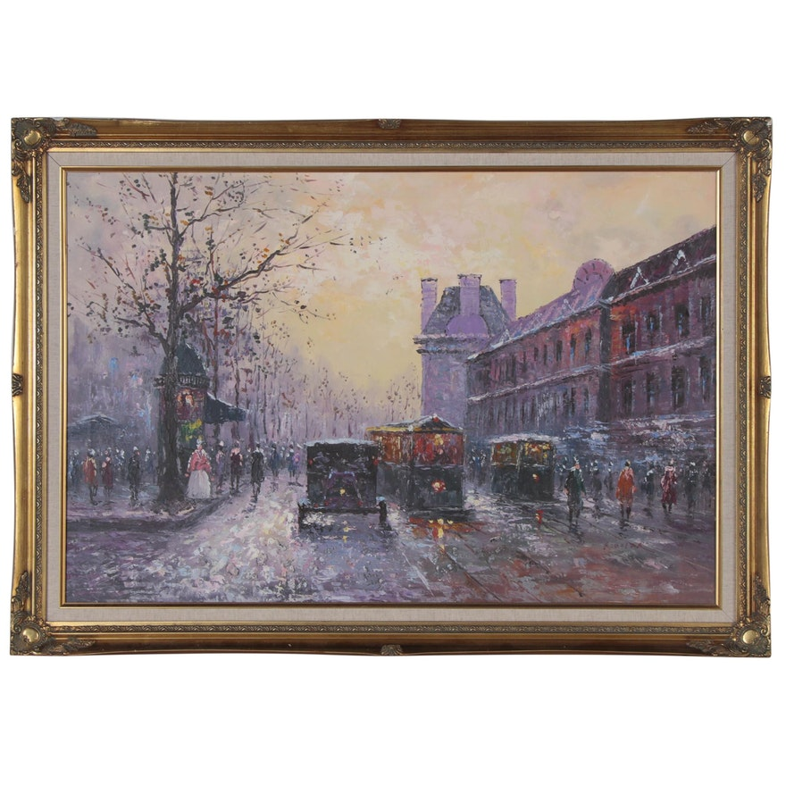 Cityscape Oil Painting with Figures, Late 20th Century