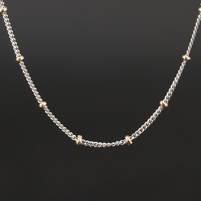 14K Two Tone Station Necklace