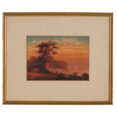 """John Z. Wood Watercolor Painting """"Sunset on the Lake,"""" 1908"""