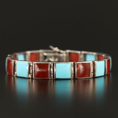 Sterling Carnelian and Turquoise Square Link Bracelet